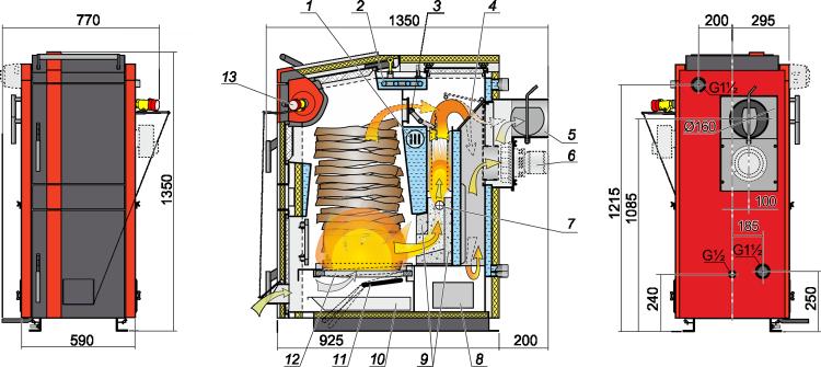 схема и размеры пиролизного котла