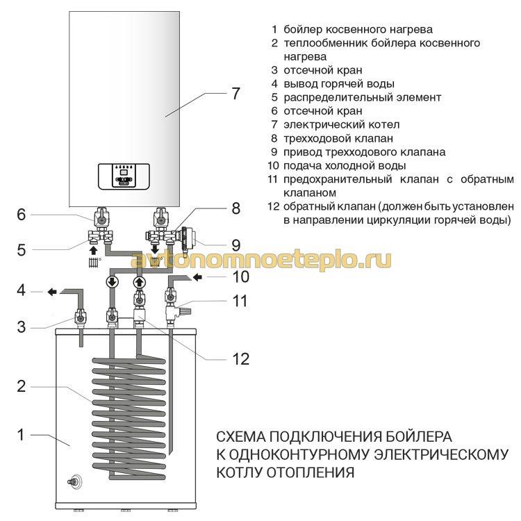 схема подключение внешнего бойлера к электрокотлу
