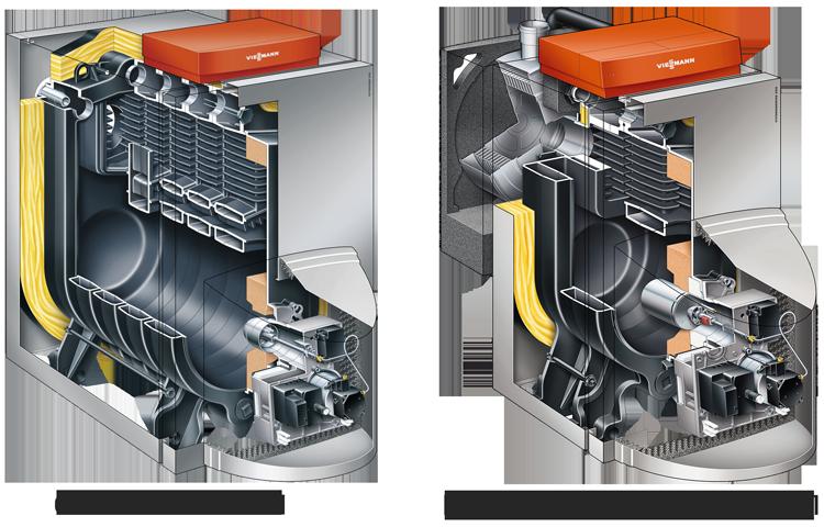 сравнение конструкции обычного и конденсационного котла на дизтопливе