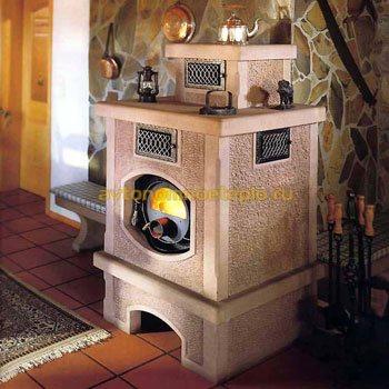 печка типа Булерьян обложенная кирпичной кладкой