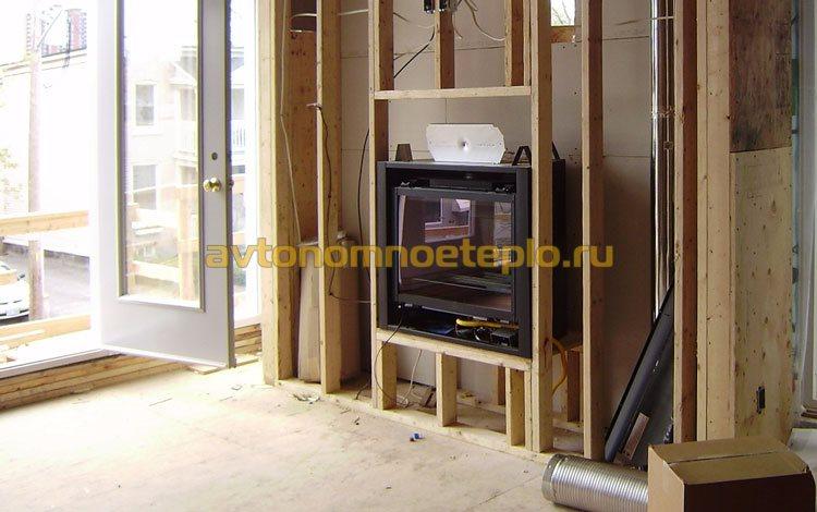 монтаж электрокамина в стене каркасного дома