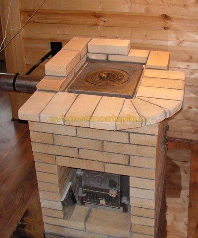 печка из металла облицованная кирпичной кладкой