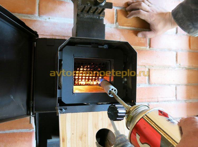 розжиг пеллет в горелке