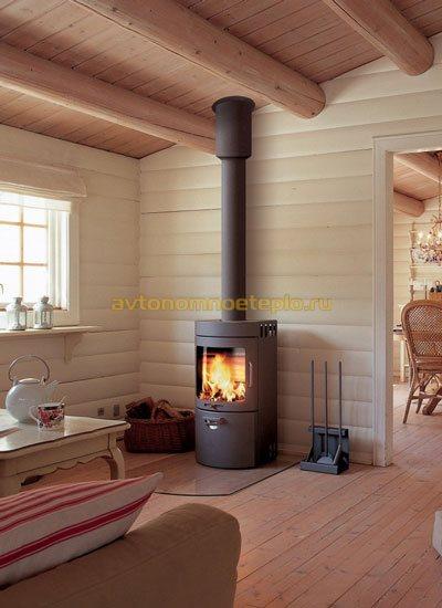 пристенный камин в доме из древесины