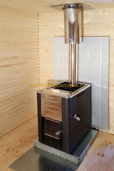 печка с каменкой и емкостью для нагрева воды