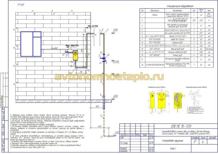 чертеж ввода газопровода в частный дом