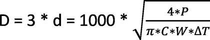 формула расчета размеров гидрострелки методом трех диаметров