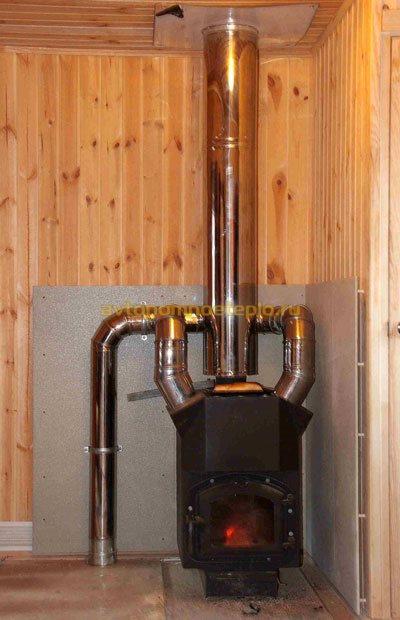 печка Студент с воздухосъемниками для разведения теплого воздуха по комнатам