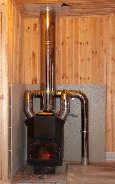 угольная печка с разведением тепла по всем комнатам