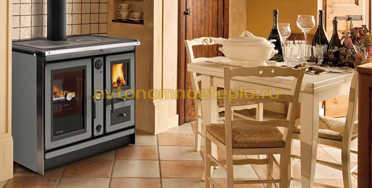 каминопечь с теплообменником и плитой