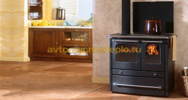 печь-камин водяного отопления с дополнительным функционалом для приготовления пищи