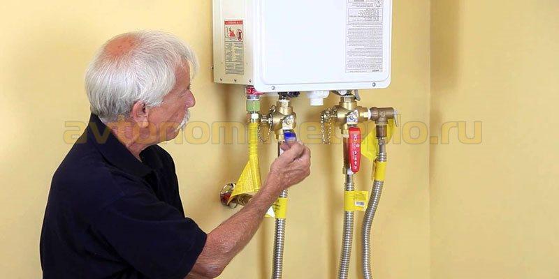 замена проточного газового водонагревателя