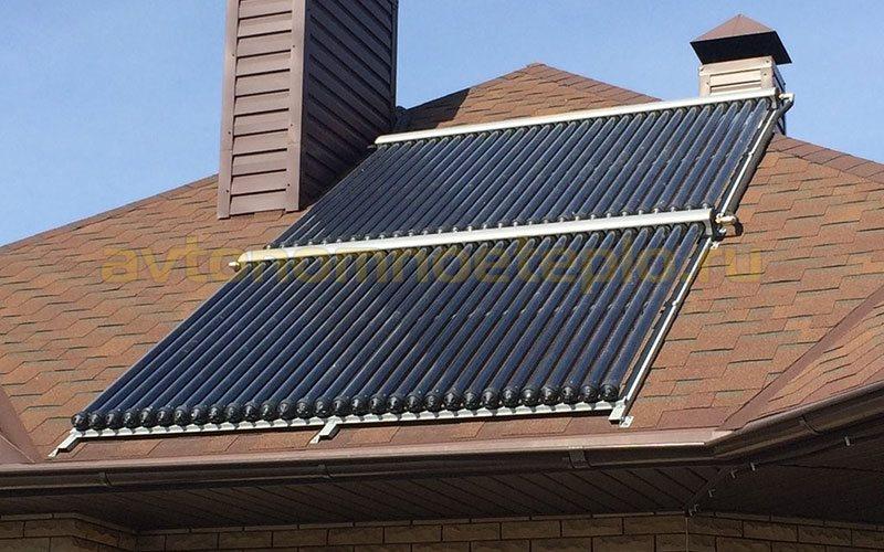 вакуумная водогрейная система расположенная на наклонной крыше