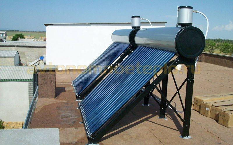 моноблочные вакуумные гелиоколлекторы на плоской крыше