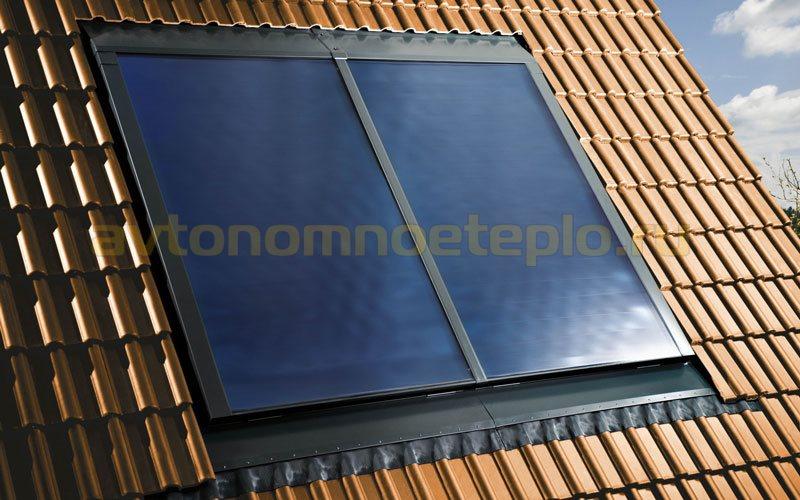 панельные гелиоколлекторы на наклонной крыше