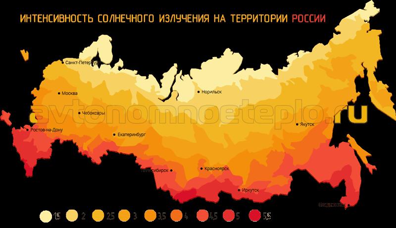 карта России по интенсивности солнечного излучения