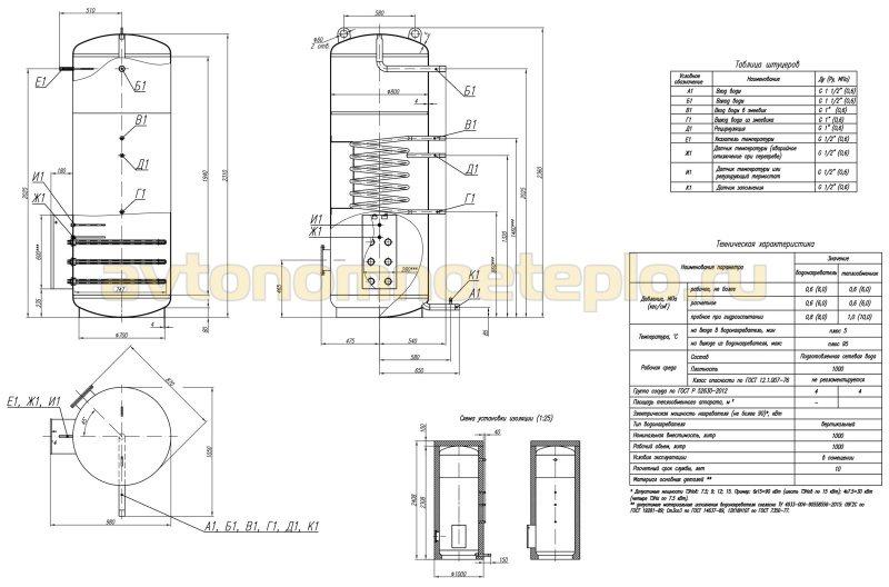 чертеж теплоаккумулятора со спиральным теплообменником и ТЭНами