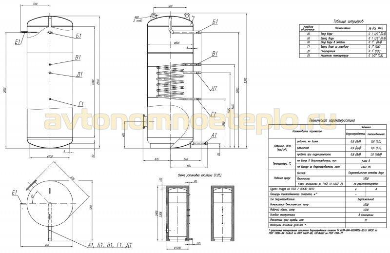 чертёж теплоаккумулирующей ёмкости с встроенным теплообменником для ГВС