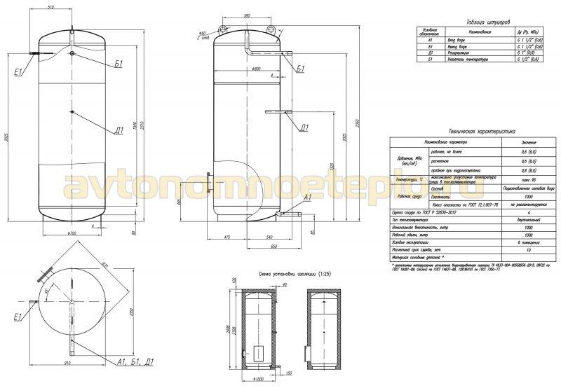 чертёж простой цилиндрической буферной ёмкости для систем отопления