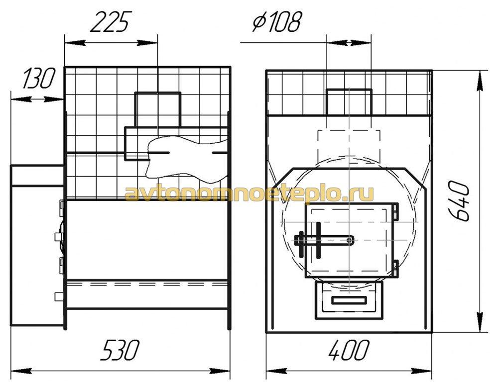 Размеры печки для бани