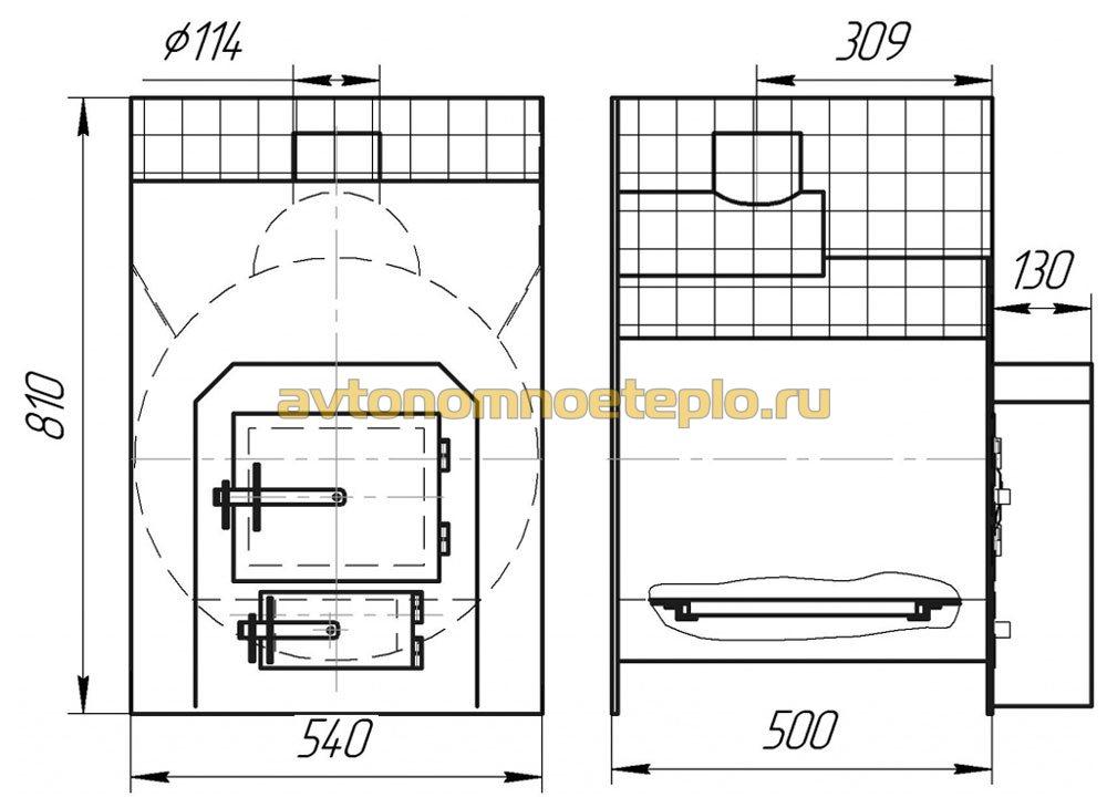 Печь для бани горизонтальная чертежи
