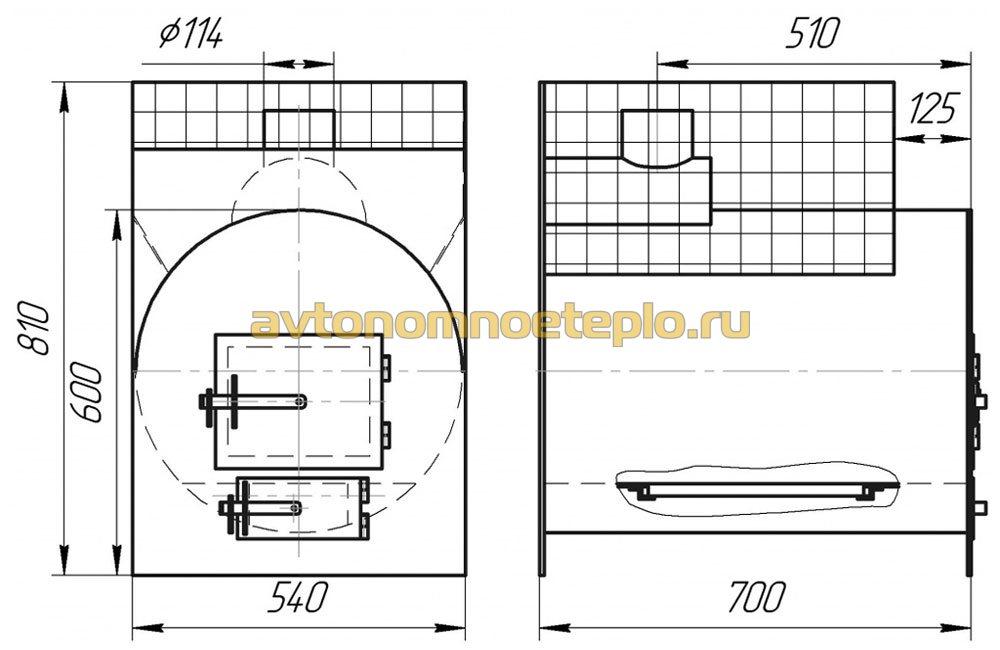 Печь для бани горизонтальная чертежи - Печь для бани из трубы: особенности горизонтальной