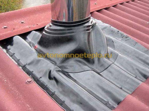 Установка дымохода через шиферную крышу чем протопить печь чтобы прочистить дымоход от смолы трубу от сажи