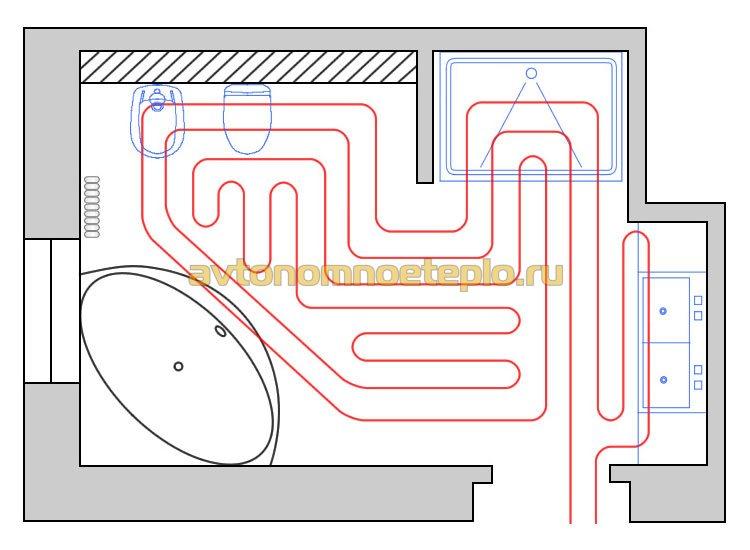 Тёплые полы водяные монтажные схемы в частном доме
