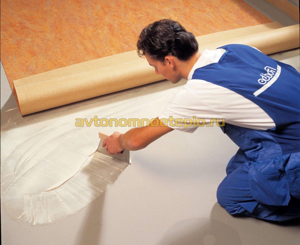 Как положить линолеум на деревянный пол своими руками фото поэтапно