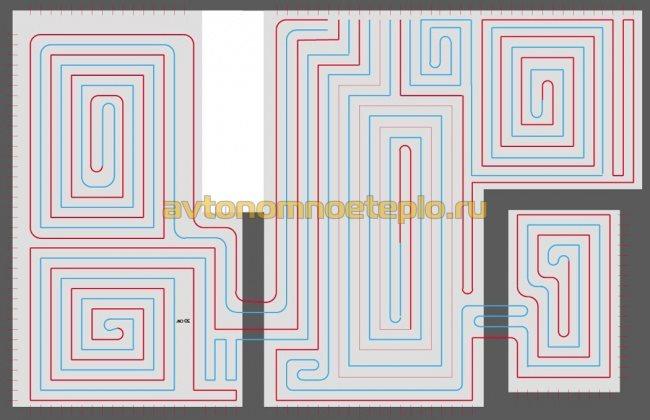 вариант раскладки контуров жидкостного отопления полов в доме