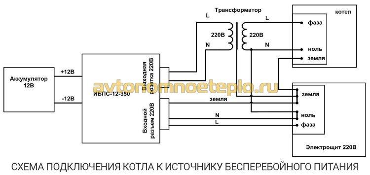 схема подключения газового котла к бесперебойнику с внешней АКБ