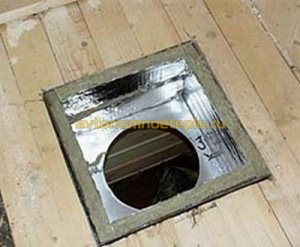 теплоизоляционная проходка в деревянном перекрытие