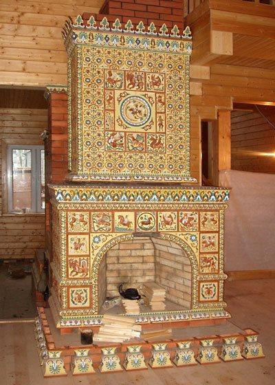 камин облицованный плиткой