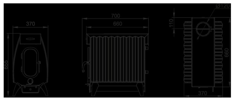 размеры Термофор серии Огонь Батарея 9 Лайт