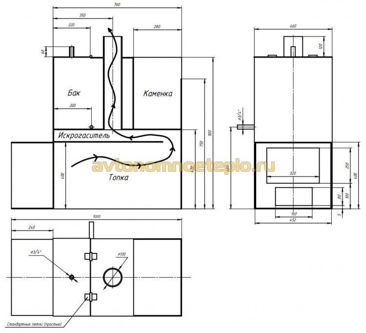 чертеж для самодельного изготовления печи в баню