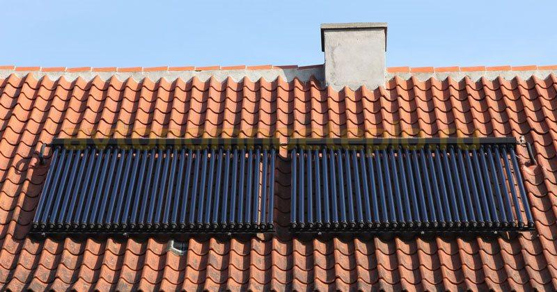 вакуумная солнечная водогрейная установка на крыше