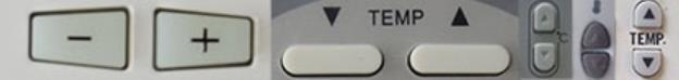 Кнопки регулировки температуры на пульте кондиционера