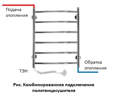 Комбинированное подключение полотенцесушителя