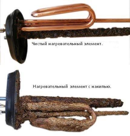 Нагревательный элемент чистый и с накипью