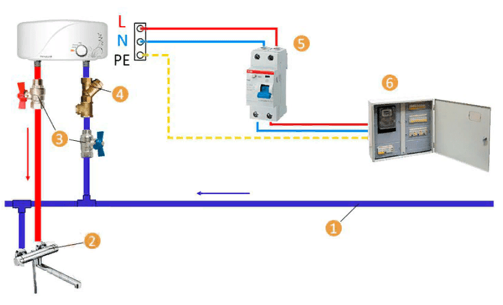 Схема подключения проточного водонагревателя