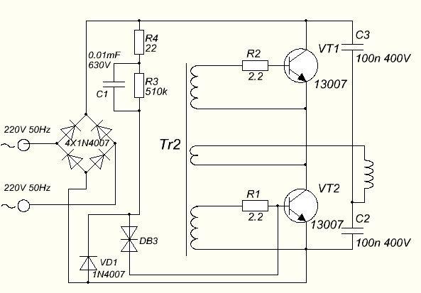 Вариант схемы индукционного нагревателя